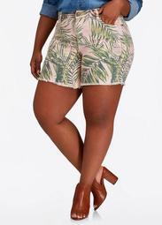 Tropical Print Denim Short
