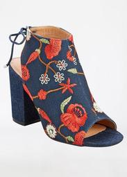 Floral Embroidered Tie Back Bootie - Wide Width