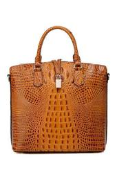 Dione Croc Embossed Leather Tote