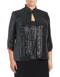 Plus Two-Piece Shimmering Jacket & Camisole Set