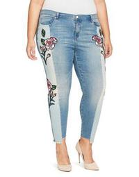 Plus Floral Skinny Ankle Jeans