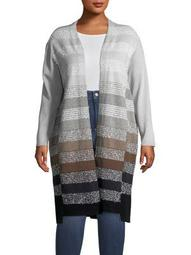 Plus Multicolored Open-Front Cardigan