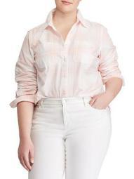 Plus Plaid Rolled-Cuff Cotton Button-Down Shirt
