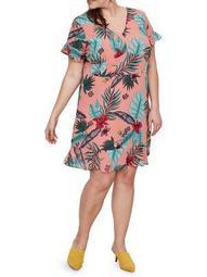 Plus 318 Izador Printed Short-Sleeve Shift Dress