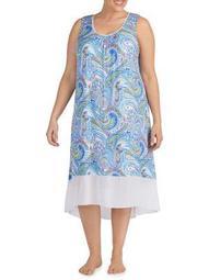 Plus Paisley-Print Sleeveless Nightgown