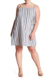 Floral Embroidered Striped Dress (Plus Size)