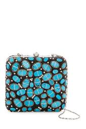 Beaded & Oval Stone Squared Hard Case Clutch