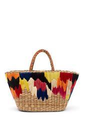 IKAT Half Embroidered Tote Bag