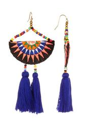 Embroidered Bead Accent Multi-Color Tassel Earrings