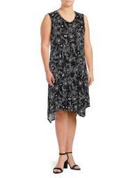 Plus Asymmetrical Floral V-Neck Dress