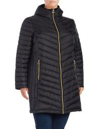 Plus Chevron Quilted Down Fill Jacket