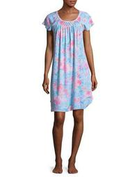 Plus Floral-Print Short-Sleeve Nightgown