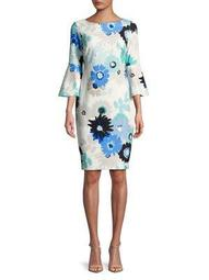 Plus Bell-Sleeve Floral Sheath Dress