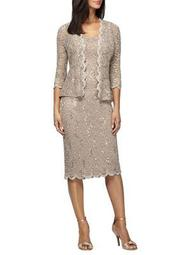 Plus Two-Piece Embellished Lace Jacket and Dress