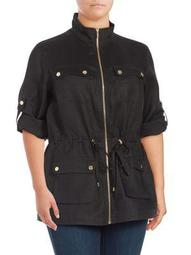 Plus Linen Roll-Sleeve Jacket