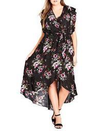 Plus Lolita Floral Maxi Dress