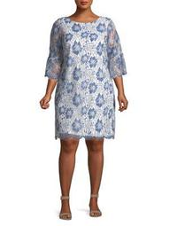 Plus Floral Bell-Sleeve Shift Dress