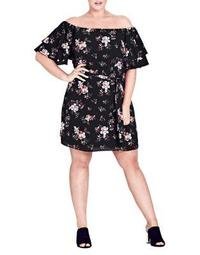 Plus Floral Dreaming Off-The-Shoulder Dress