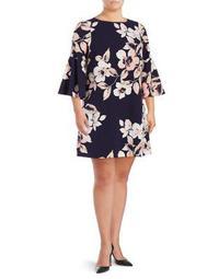 Plus Floral-Print Bell-Sleeve Shift Dress