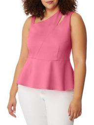 Plus Asymmetrical Cutout Peplum Top