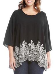 Plus Quarter-Sleeve Embroidered Top