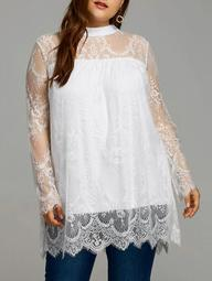 Plus Size Lace Sheer Scalloped Edge Blouse