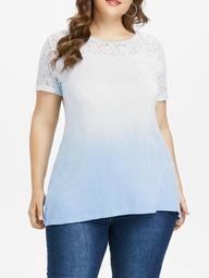 Plus Size Lace Yoke Patch Pocket T-shirt