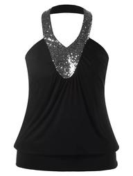 Plus Size Halter Sequin Backless Blouson Tank Top