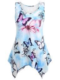 Plus Size Asymmetric Lace Butterfly Tank Top