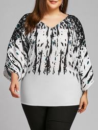 Plus Size Batwing Sleeve Splatter Paint Blouse