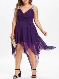 Flowy Asymmetrical Plus Size Empire Waist Dress - $43.23