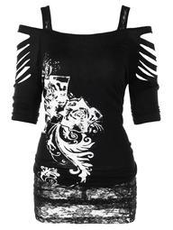 Plus Size Cold Shoulder Shredding Tunic T-shirt