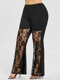 Rose Lace Insert Plus Size Flare Leggings