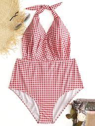 Plaid Halter Plus Size Swimwear