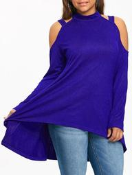 Plus Size Long Sleeve High Low Tunic T-shirt