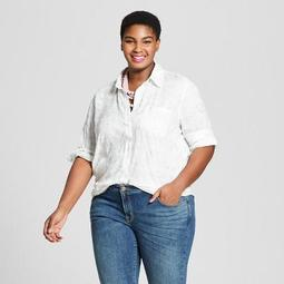 Ava & Viv™ Women\'s Plus Size Button-Down Long Sleeve Floral Shirt with  Shine - Ava & Viv™ Silver - On Sale for $16.08 (regular price: $22.99)
