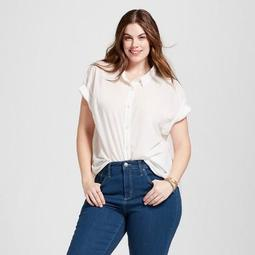 Universal Thread™ Women\'s Plus Size Short Sleeve Button-Down Shirt -  Universal Thread™ - On Sale for $13.98 (regular price: $19.99)