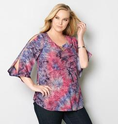 Tie Dye Jacquard Slit Sleeve Top