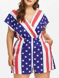 Plus Size American Flag Surplice Romper