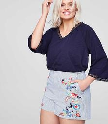 LOFT Plus Floral Embroidered Riviera Shorts