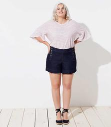 LOFT Plus Denim Sailor Shorts in Dark Rinse Wash