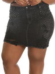 Destructed Faux Pearl Denim Mini Skirt