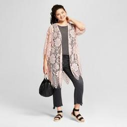 Women's Plus Size Lace Kimono - Xhilaration™ Light Pink