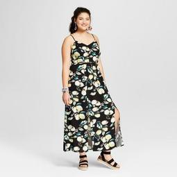 Xhilaration™ Women\'s Plus Size Floral Print Ruffle Maxi Dress -  Xhilaration™ Black - On Sale for $24.48 (regular price: $34.99)