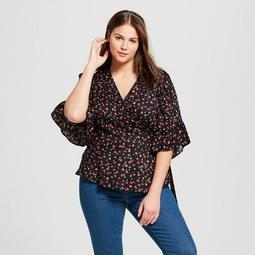 f3a029dad512f3 Xhilaration™ Women's Plus Size Printed 3/4 Sleeve Wrap Shirt -