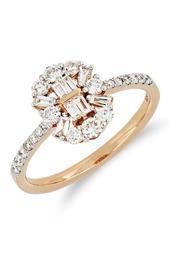18K Rose Gold Round & Baguette Diamond Detail Ring - Size 7