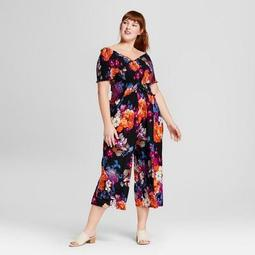 Women's Plus Size Floral Print Smocked Jumpsuit - Xhilaration™ Black
