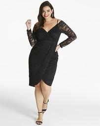 AX Paris Curve Midi Length Lace Dress with Cold Shoulder Detailing