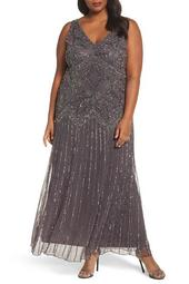 Beaded V-Neck Gown (Plus Size)