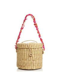Ana Cherry-Blossom Straw Bucket Bag